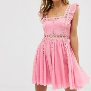 Free People Verona Lace Trim Smocked Dress L